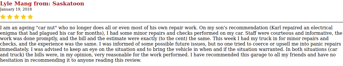 image of a customer's review of Market Mall Ato Repair's service